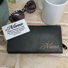 Personalised Black Leather Purse RFID - Nana