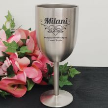 Birthday Engraved Stainless Steel Wine Glass Goblet (F)