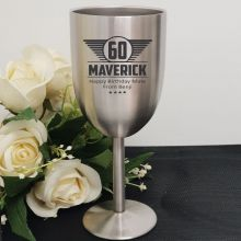 60th Engraved Stainless Steel Wine Glass Goblet (M)