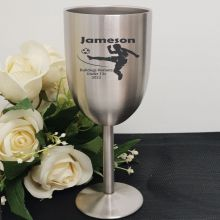 Soccer Coach Engraved Stainless Steel Wine Glass Goblet