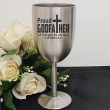 Godfather Engraved Stainless Steel Wine Glass Goblet