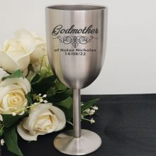 Godmother Engraved Stainless Steel Wine Glass Goblet
