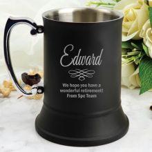 Retirement Engraved Personalised Black Beer Stein Glass