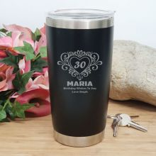 30th Insulated Travel Mug 600ml Black (F)
