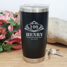 100th Insulated Travel Mug 600ml Black (M)