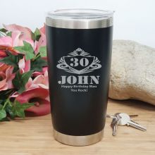 30th Insulated Travel Mug 600ml Black (M)