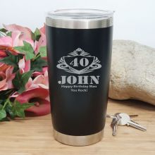 40th Insulated Travel Mug 600ml Black (M)