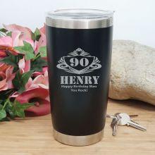90th Insulated Travel Mug 600ml Black (M)
