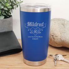 90th Insulated Travel Mug 600ml Dark Blue (F)