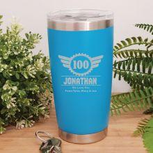 100th Insulated Travel Mug 600ml Light Blue (M)