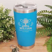 Coach Engraved Insulated Travel Mug 600ml Light Blue