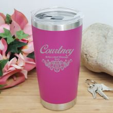 Personalised Insulated Travel Mug 600ml Pink (F)