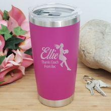 Netball  Coach Engraved Insulated Travel Mug 600ml Pink
