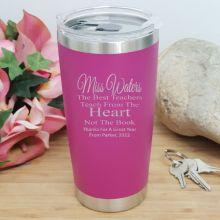 Teacher Insulated Travel Mug 600ml Pink - Heart