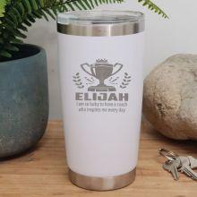 Coach Engraved Insulated Travel Mug 600ml White