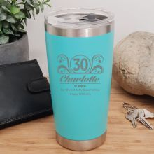 30th Insulated Travel Mug 600ml Teal (F)