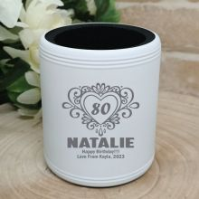 80th Birthday  Engraved White Can Cooler (F)
