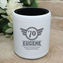 70th Birthday  Engraved White Can Cooler (M)