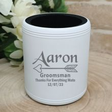 Groomsman Engraved White Stubby Can Cooler