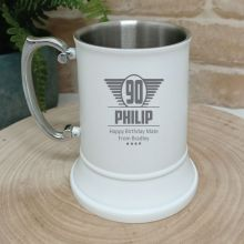 90th Birthday Engraved Stainless Steel White Beer Stein (M)