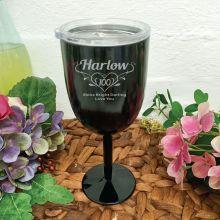 100th Birthday Black Wine Stainless Goblet (F)