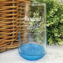 21st Birthday Engraved Personalised Glass Tumbler (F)