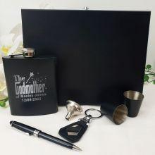 Godmother Engraved Black Flask Gift Set in  Gift Box