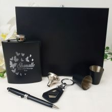 Engraved Black Flask Gift Set in  Gift Box (F)