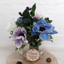 30th Birthday Anemone Berry Flower Mix in Vase - Blue
