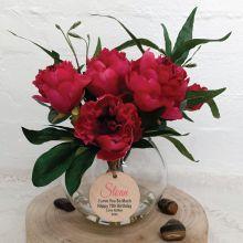 Floral Peony Ruellia Mix in Vase -70th Birthday