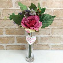 Scented Floral Arrangement  & Vase w/ personalised Tag