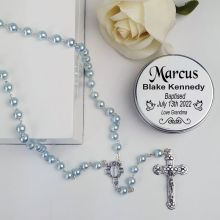 Baptism Blue Pearl Rosary Beads Personalised Tin