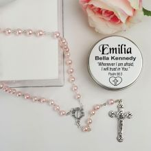 Pink Pearl Rosary Beads Personalised Tin