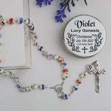 Christening White Ceramic Rosary Beads Personalised Tin