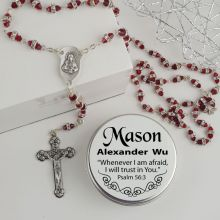Red Diamante Rosary Beads Personalised Tin