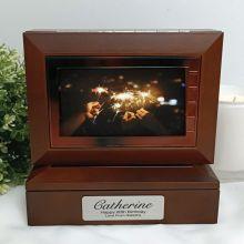 80th Wooden Photo Keepsake Trinket Box