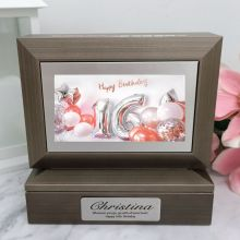 16th Photo Keepsake Trinket Box - Charcoal Grey