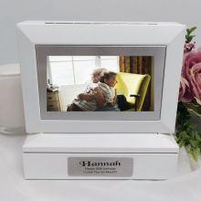 60th Photo Keepsake Trinket Box - White
