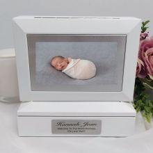 Baby Photo Keepsake Trinket Box - White