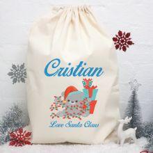 Personalised Christmas Santa Sack - Christmas Bear