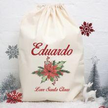 Personalised Christmas Santa Sack - Poinsettia