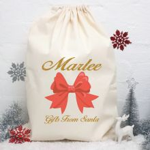 Personalised Christmas Santa Sack 80cm - Ribbon