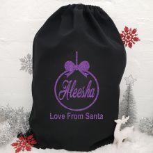 Personalised Large Black Christmas Santa Sack -Bauble