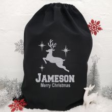 Personalised Large Black Christmas Santa Sack - Reindeer