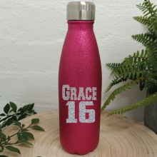 Personalised 16th Pink Glitter Drink Bottle