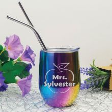 Teacher Rainbow Tumbler Stemless Wine Glass