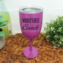 World's Best Coach Purple Stainless Wine Glass
