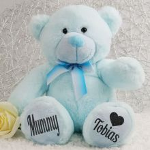 Personalised Mum Teddy Bear Plush 30cm Light Blue