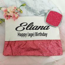 Birthday Make Up Bag & Mirror Set Pink Glitter