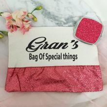 Grandma Make Up Bag & Mirror Set Pink Glitter
